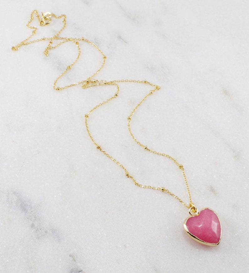 Strawberry Quartz Heart Necklace heart jewelry valentine gift for her pink heart necklace heart pendant sweetheart necklace,