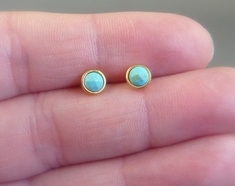 Color Collection. Tiny Turquoise Stud Earrings. modern earrings. minimal earrings. everyday earrings. genuine turquoise stone.