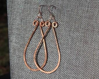 Copper Teardrop  hoops
