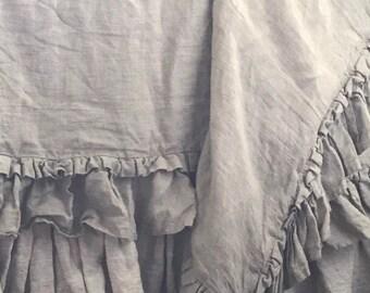 Washed Linen Duvet Cover, Ruffled Linen Duvet, Linen Duvet Cover, Linen Bedding, Washed Linen Bedding, Ruffled Duvet, Linen Bed Cover
