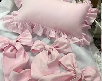Petal Pink Washed Linen - 3 Over Sized Pre-Tied Crib Bows - 12x20 Ruffled Pillow with Removable Poly Insert- Sham May be Monogrammed Later