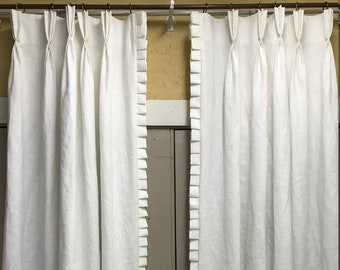 Handmade White Linen Drapes-One Pair-Single Width Linen Drapery Panels-Traditional Pinch Pleats-Pleated Trim Detail Sewn Onto Leading Edges
