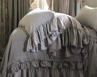 Washed Linen Long Ruffle Pillowcase Shams-One Pair-Standard-Queen-King Size Shams