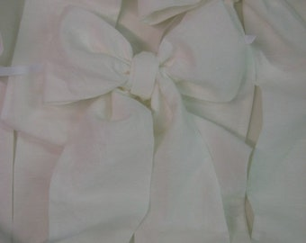 Single OVERSIZED Pre-Tied CRIB BOW-Crib Sash Separate-Washed Linen Crib Sash-Large Crib Bow to Decorate your Nursery