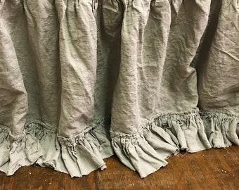 KING BED SKIRT-Torn Ruffle Bed Skirt-Natural Flax Washed Linen-Gathered Bed Skirt-Frayed Ruffle Detail-King Bed-Light Grey Velvet Ribbon