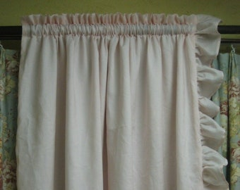 Ruffled Drapery Pair in Linen-Two Lined Single Width Ruffled Panels with Rod Pocket Header-Ruffled Curtain Panels-Two Long Curtain Panels