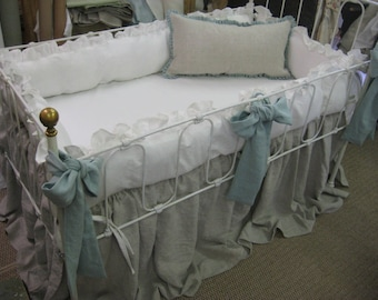 Washed Linen Ruffled Crib Bedding Separates-Ruffled Bumpers in Vintage White, Crib Skirt in Oatmeal, Sash Ties in Patina, Crib Pillow