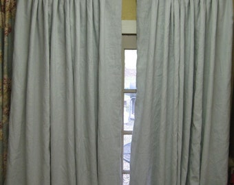 Pleated Drapery Panels-Extra Wide Linen Panels-Vintage White with Soft White Lining- Euro Pleat Detail-1.5 Width Panels-One Pair