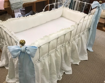 "Vintage White Washed Linen Crib Bedding-1"" Ruffled Bumpers-Tiny Ties-Storybook Crib Skirt-2 Baby Blue Crib Bows"