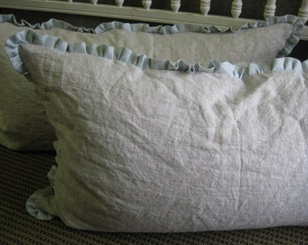 Pair of Ruffled Bed Pillow Shams in Washed Linen-One Inch Ruffled Bed Pillow Shams-Ruffled Pillow Shams-