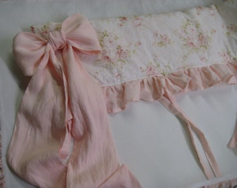 Crib Bedding Rail Coverlet in Washed Linen or Floral Cotton- Ruffled Crib Rail Cover