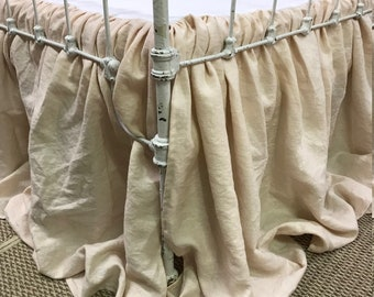 Washed Linen Crib Skirt-Your Selected Linen Color and Length