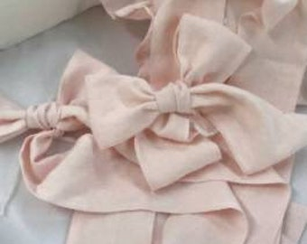 Nursery Linens in Soft Pink Washed Linen-Crib Skirt-3 Crib Bows-4 Curtain Bows
