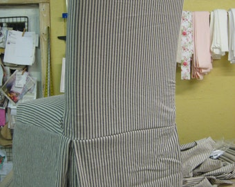 Blue and Natural Pillow Ticking Washed Cotton Chair Slips-Parsons Chair Slipcovers-Long Tailored Skirts