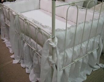 Ruffled Linen Crib Bedding-Baby White Washed Linen-Ruffled Crib Pillow-Petite Ruffle Bumpers-Petite Ruffle Crib Pillow