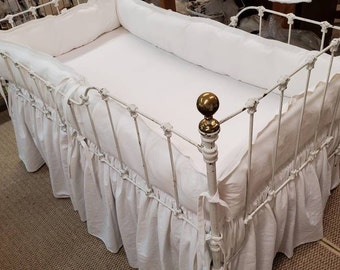 White Baby Bedding-Washed Baby White Linen Tailored Crib Bedding-Classic Styled Nursery Linens-Made in USA