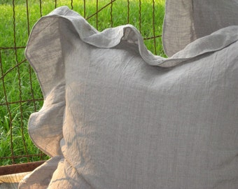 """One Washed Linen Euro Sham with 4"""" Slightly Ruffled Edge----One Pillow Sham-----Single Pillow Sham with Ruffled Perimeter-Zip Closure"""