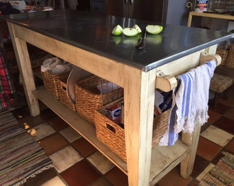 Incroyable Kitchen Island  Rustic Zinc Top Work Table Kitchen Prep Table With Zinc Top Farm  Table Style Kitchen Island SHIPPING AVAILABLE