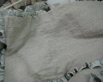 Ruffled Crib Duvet with Removable Insert or Crib Blanket in Washed Linen---Your Linen Color Choice