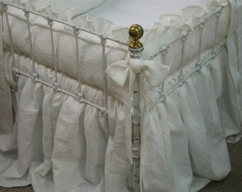 Nursery Bedding in Heavy Weight Washed Linen-Ruffled Crib Bedding-Sash Ties-Storybook Crib Skirt-Vintage White Heavy Weight Washed Linen