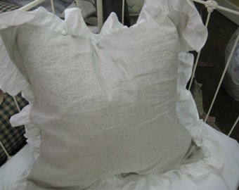 "Ruffled Washed Linen Euro Shams- Washed Linen Euro Shams with 4"" Ruffled Perimeter-Zip Closure-Custom Washed Linen Bedding"
