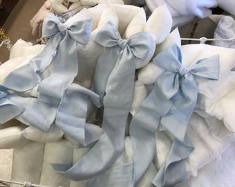 Crib Skirt and 2 Bows-Washed Linen--Casual Style Washed Linen Crib Bedding-Storybook Crib Skirt--Set of Two Over Sized Crib Bows/Sashes