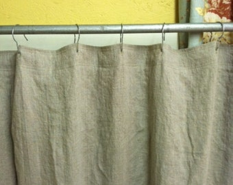 Heavy Weight Washed Linen Standard Shower Curtain 76 78 Wide Buttonholes For Rings Basic In