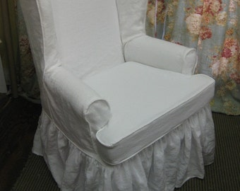 Traditional Wing Back Chair Slipcover In Washed Linen Local Clients Only Wing  Back Chair Ruffled Slipcover Washed Linen Slipcover Your Chair