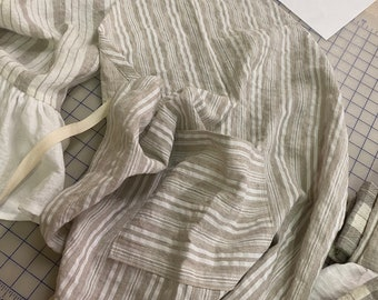 Linen Stripe Basic Apron with Pocket