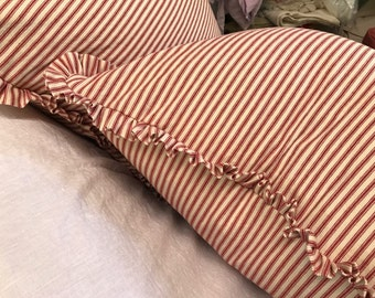 """Pair of Ruffled Pillow Slipcovers in RED Cotton Ticking Stripe-1"""" Ruffled Detail-Two Pillow Shams-18x18-Other Sizes and Colors Available"""