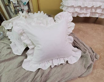 Ruffled Pillow In White Washed Cotton - Hemmed Ruffle Detail - Zip Closure - Down Insert Option