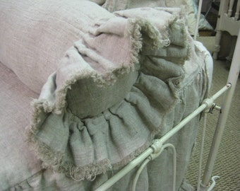 Simple Bolster Pillow Sham-Torn Ruffled Edges in Washed Linen-Neckroll Pillow Sham-Single Frayed Ruffle Ends-Zip Closure-Shabby Ruffled Sham