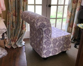 SLIPCOVER SEWING Local Clients Armless Chair Slipcover Using Fabric  Provided By Client Tailored Slipcover With Covered Cording Detail