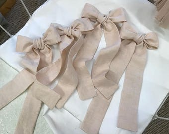 Linen Curtain Bows - Order Your Requested Number and Color - Pre-Tied Linen Curtain Bows