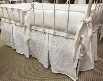 Heavy Weight Washed Linen Tailored Crib Bedding-Large Covered Cording-Pleated Crib Skirt-Angle Cut Ties