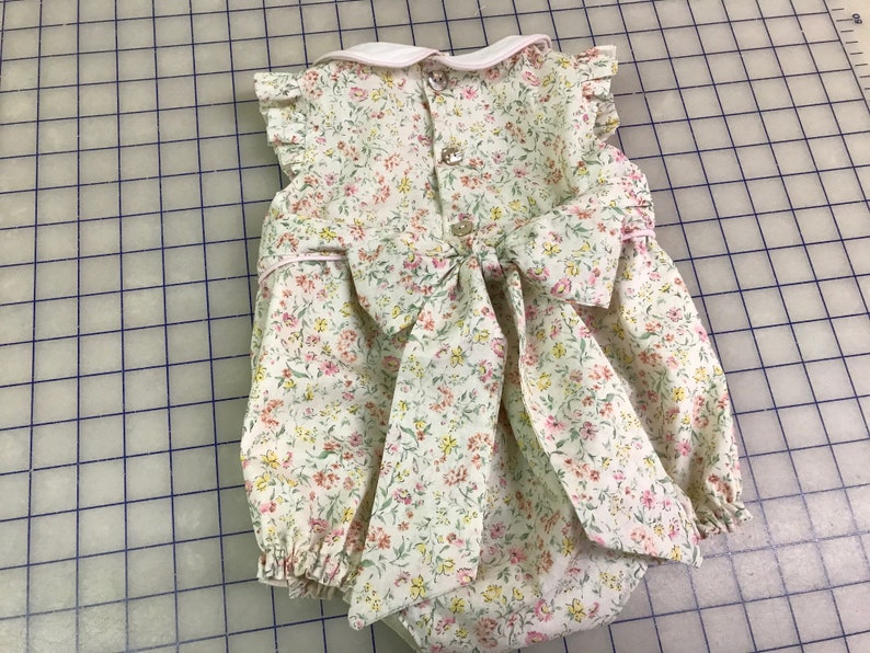 Boutique Style Baby Clothing-Floral Bubble Suit for Baby Girl-Easter Sunsuit-Floral Cotton Baby Girl Bubble-Artisan Handmade Children/'s Wear