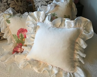 Vintage White Washed Linen Pillow Sham with Tiny Cording Detail in Soft Pink-May be Monogrammed Later-Zip Closure-Your Size Request