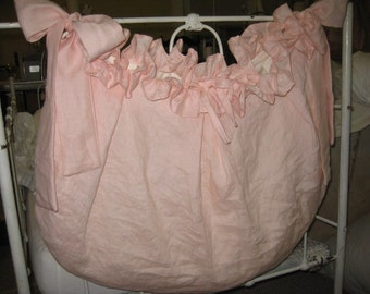 Storybook Style Crib Accessory Bag-Ruffled Washed Linen Diaper Nursery Diaper Bag-Crib Toy Bag-Crib Diaper Bag-Diaper Stacker