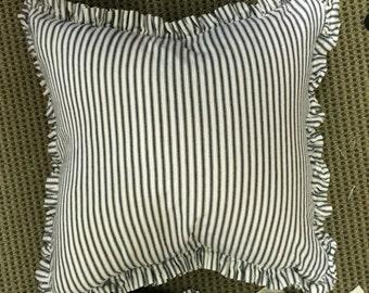 "Single Pillow Slipcover-Cotton Ticking Stripe-1"" Ruffled Detail-One Pillow Sham-Zip Closure-18x18-20x20-22x22-24x24-26x26-Indigo-Tan-Black"
