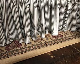 Ticking Stripe Gathered Cotton Bed Skirt- Gathered Bed Skirt - Stripe Bedding