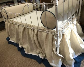 Tailored Crib Bolsters and Crib Skirt----Nursery Separates in Washed Linen---Classic Nursery Style---Khaki and Navy Linen Bumperless Bedding