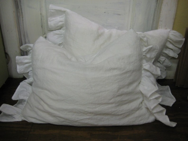 Pair of Side Ruffle Pillow Shams  Washed Vintage White Linen image 0