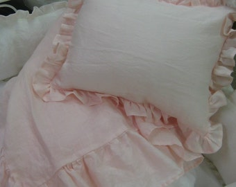 Ruffled Washed Linen Coverlet-Crib Pillow Sham with Removable Pillow Insert-Your Linen Color Choice