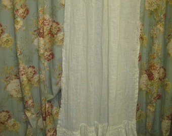 Washed Linen Ruffled Panels-Vintage White Open Weave Ruffled Linen Panels-One Pair
