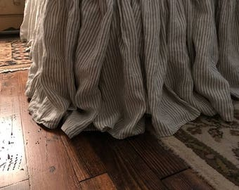 Washed Linen Gathered Bed Skirts- Natural Flax Ticking Stripe Washed Linen-Medium Stripe Washed Linen-FULL-QUEEN-KING