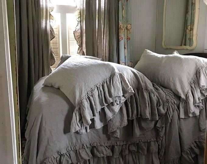 Featured listing image: Washed Linen Ruffled Bed Set, Linen Duvet Cover, Linen Bed Skirt, Linen Pillow Shams, Linen Home Decor