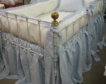 Tailored Crib Bumpers with Sash Ties-Gathered Crib Skirt-Ruffled Crib Pillow-Vintage White and Baby Blue