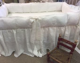 Vintage White Washed Linen Classic Tailored Crib Bedding-Storybook Crib Bedding-Classic Styled Nursery Linens-Made in USA