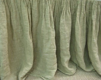Gathered Bed Skirt - Open Weave Washed Linen -Safari Linen- Two Length Options