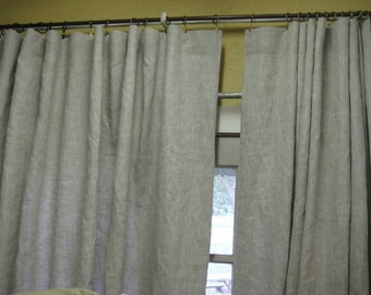 Double Width Linen Drapery Panels-Sliding Door Curtains-French Door Curtains-Beach House Curtains-Wide Window Treatments-Extra Wide Panels